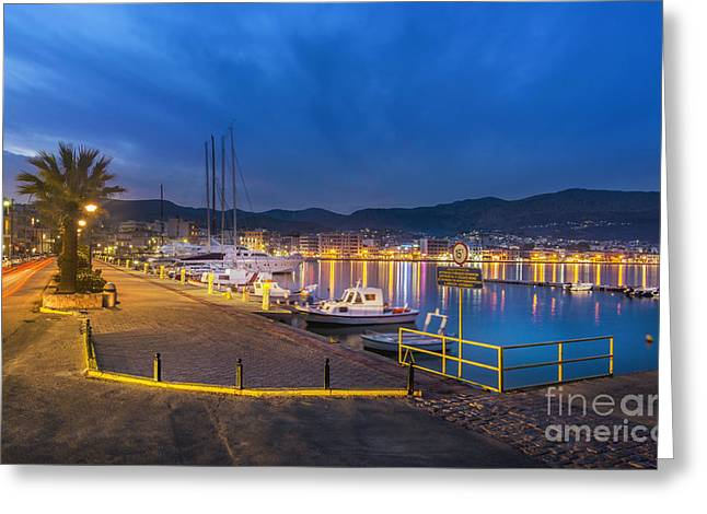 Port Of Chios Greeting Card by Valantis Zoumis
