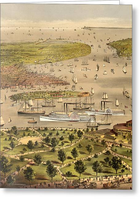 Port Of New York, Birds Eye View From The Battery Looking South, Circa 1878 Greeting Card by Currier and Ives