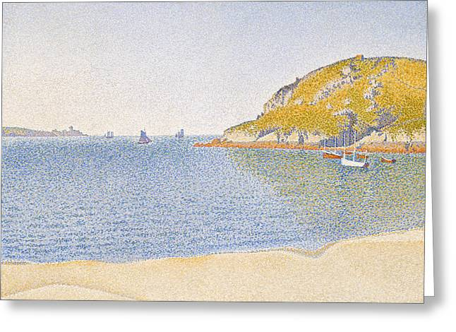 Port Of Saint-cast Greeting Card by Paul Signac