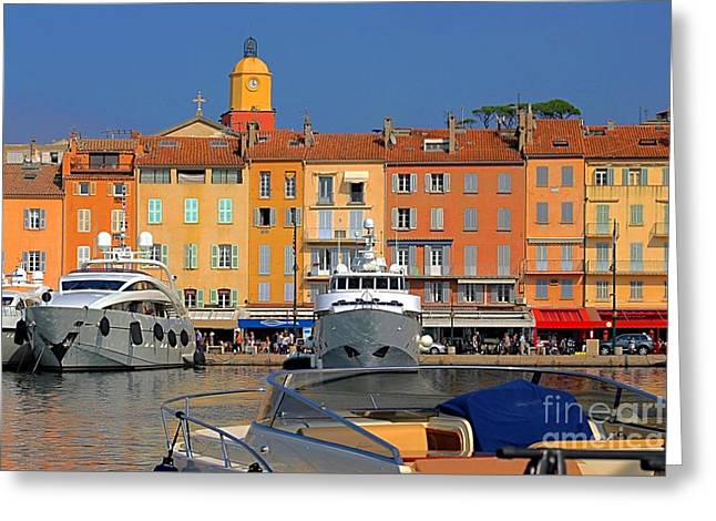 Saint-tropez Greeting Cards - Port of Saint-Tropez in France Greeting Card by Giancarlo Liguori