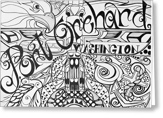 Orchard Drawings Greeting Cards - Port Orchard Washington Zentangle Collage 2 Greeting Card by Jani Freimann