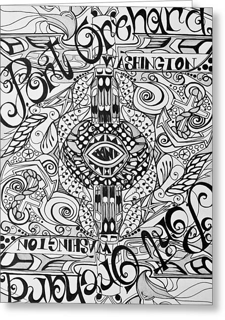 Orchard Drawings Greeting Cards - Port Orchard Washington Zentangle Collage Greeting Card by Jani Freimann