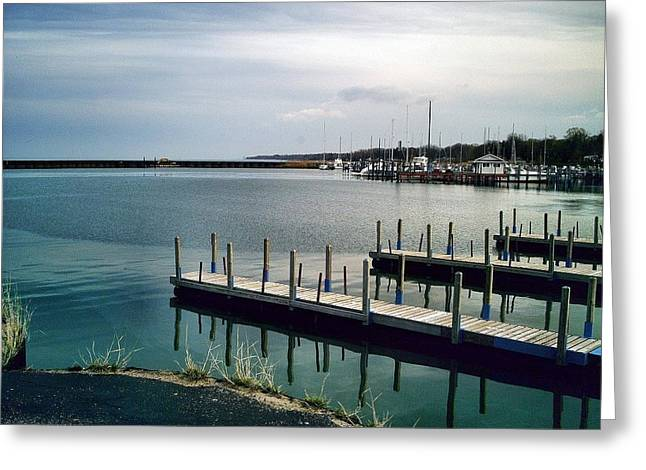 Docked Boats Digital Greeting Cards - Port Sanilac Harbour Greeting Card by Bill Noonan