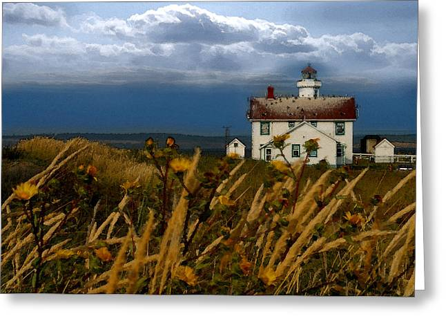 Port Townsend Light House Wa Greeting Card by Joseph G Holland