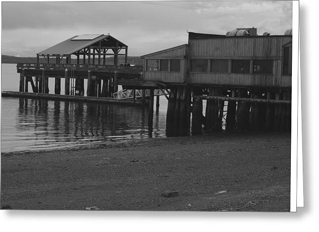 Overcast Day Greeting Cards - Port Townsend Pier Greeting Card by Rob Johnston