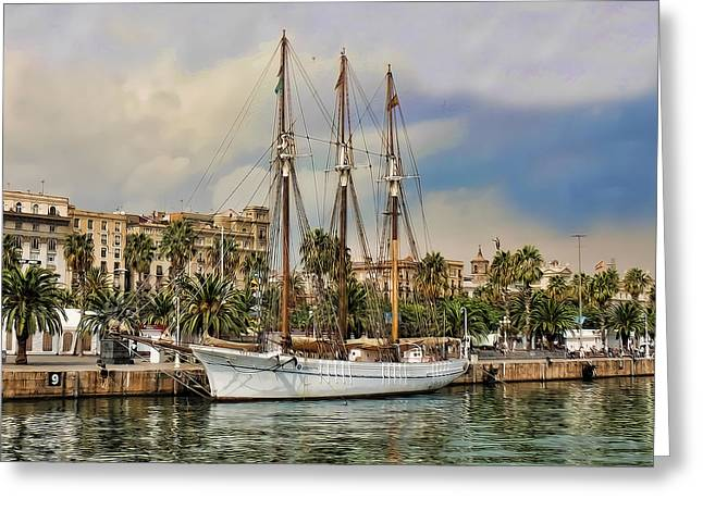 Port Vell  Near Barcelona Harbour Greeting Card by Alex Hardie