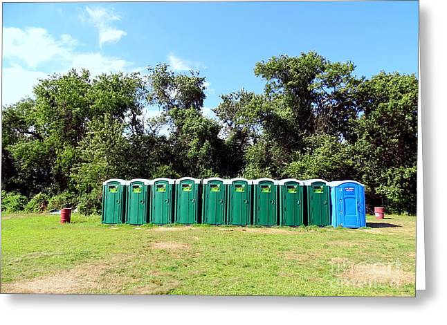Abstract Beach Landscape Greeting Cards - Porta Potty Panorama Greeting Card by Ed Weidman