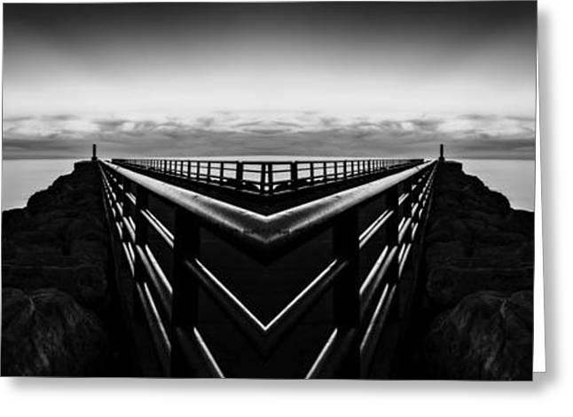 Portage Lake Pier Black And White Reflection Greeting Card by Pelo Blanco Photo