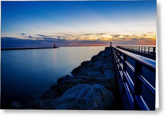 Portage Lake Pier Greeting Card by Pelo Blanco Photo