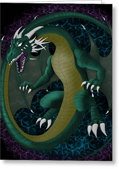 Greeting Card featuring the digital art Portal Dragon by Raphael Lopez