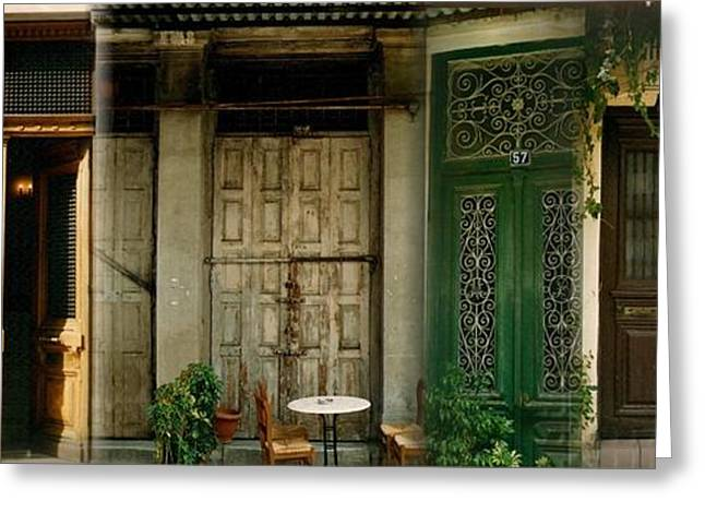 Entrance Door Greeting Cards - Portals from the Plaka Greeting Card by Robert D McBain