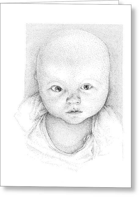Pen And Ink Drawing Greeting Cards - Portrait of a baby Greeting Card by Crazy Cat Lady