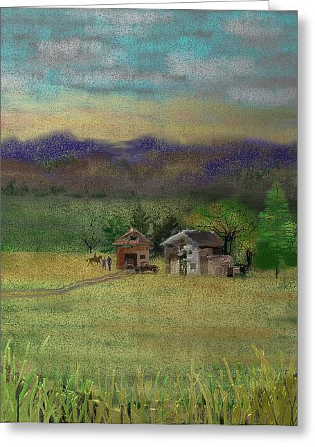 Barn Digital Art Greeting Cards - Porters Farm Greeting Card by Arline Wagner