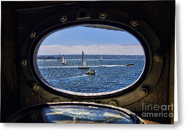 Sailboat Art Greeting Cards - Porthole Greeting Card by Keith Ducker