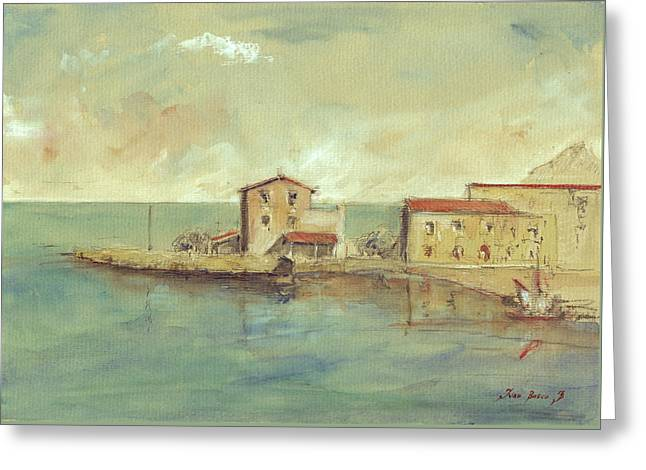 Italian Islands Greeting Cards - Porticello Santa Flavia  Seascape at Sicily Palermo Greeting Card by Juan  Bosco