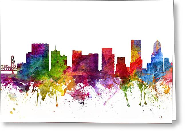 Portland Oregon Greeting Cards - Portland Cityscape 06 Greeting Card by Aged Pixel