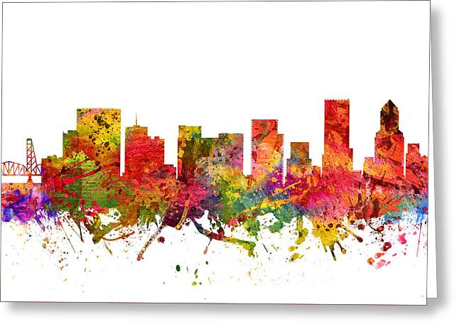 Portland Oregon Greeting Cards - Portland Cityscape 08 Greeting Card by Aged Pixel