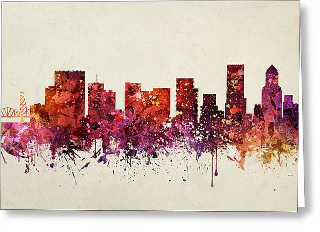 Portland Oregon Greeting Cards - Portland Cityscape 09 Greeting Card by Aged Pixel
