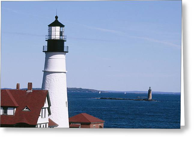 Atlantic Beaches Greeting Cards - Portland Harbor Lighthouses Greeting Card by George Oze