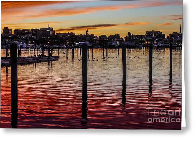 South Boston Prints Greeting Cards - Portland Harbor Sunset Greeting Card by Joe Far Photos