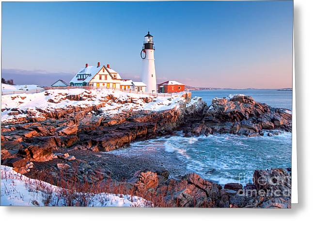 New England Ocean Greeting Cards - Portland Head Greets the Sun Greeting Card by Susan Cole Kelly