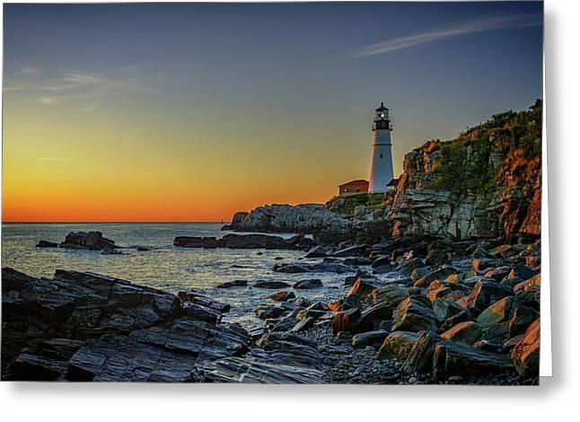 Portland Head Light At Dawn Greeting Card by Rick Berk