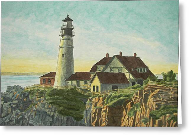 Maine Lighthouses Paintings Greeting Cards - Portland Head Light at Sunrise Greeting Card by Dominic White