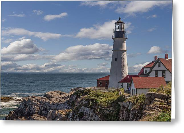 Maine Beach Mixed Media Greeting Cards - Portland Head Light Greeting Card by Capt Gerry Hare