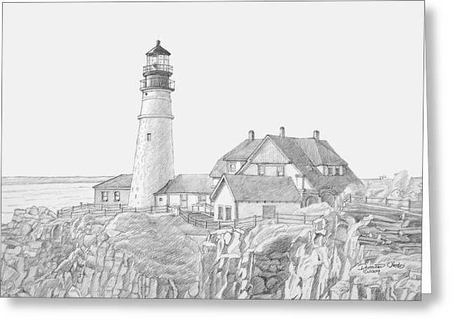 New England Lighthouse Drawings Greeting Cards - Portland Head Light Drawing Greeting Card by Dominic White