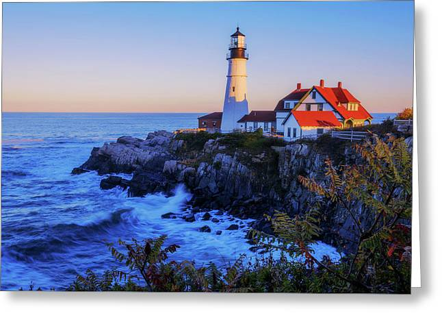 Portland Head Light II Greeting Card by Chad Dutson