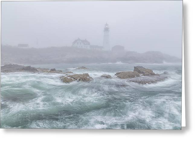 Maine Lighthouses Greeting Cards - Portland Head Light in the Fog Greeting Card by Stephen Beckwith