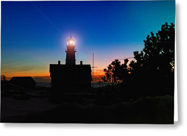 Winter In Maine Greeting Cards - Portland Head Light - Maine Greeting Card by Joann Vitali