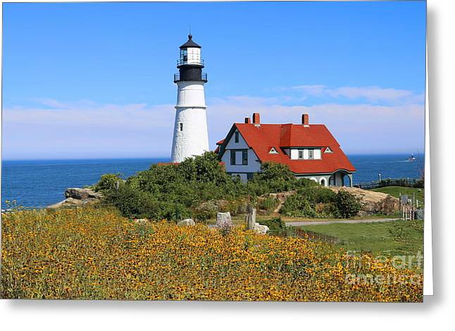 Maine Lighthouses Greeting Cards - Portland Head Light Greeting Card by Marcel  J Goetz  Sr
