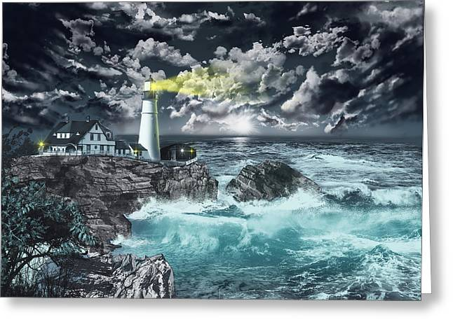 Maine Lighthouses Digital Greeting Cards - Portland Head Light Greeting Card by MB Art factory