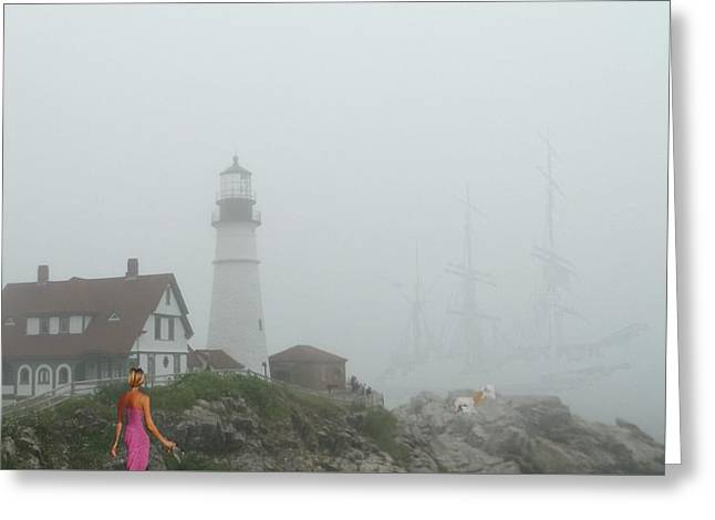 New England Ocean Greeting Cards - Portland Head Light Greeting Card by Mike Breau