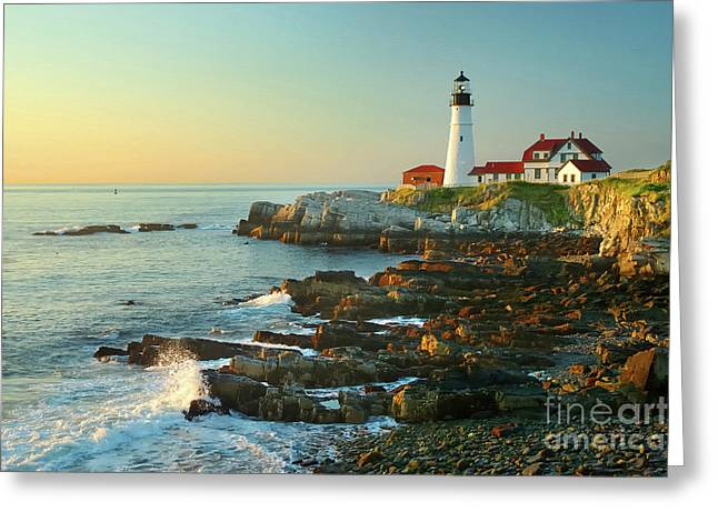 Sea Scape Greeting Cards - Portland Head Light No. 2  Greeting Card by Jon Holiday