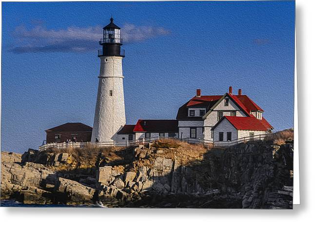 Shower Head Greeting Cards - Portland Head Light No. 44 Greeting Card by Mark Myhaver