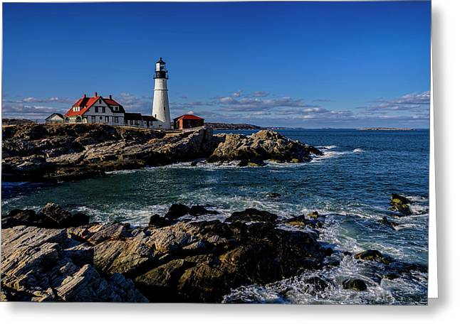 Ocean Art Photography Greeting Cards - Portland Head Light No.32 Greeting Card by Mark Myhaver