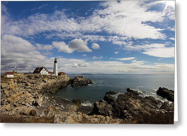 Recently Sold -  - Maine Lighthouses Greeting Cards - Portland Head Light Seascape Greeting Card by Kirkodd Photography Of New England