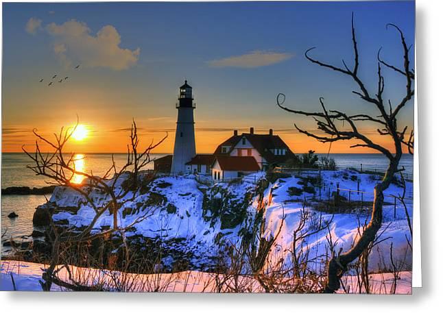 Winter In Maine Greeting Cards - Portland Head Light Sunrise - Maine Greeting Card by Joann Vitali