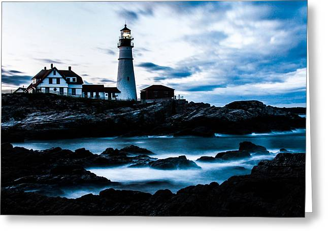 Maine Lighthouses Pyrography Greeting Cards - Portland head lighthouse Greeting Card by Amanda Geist