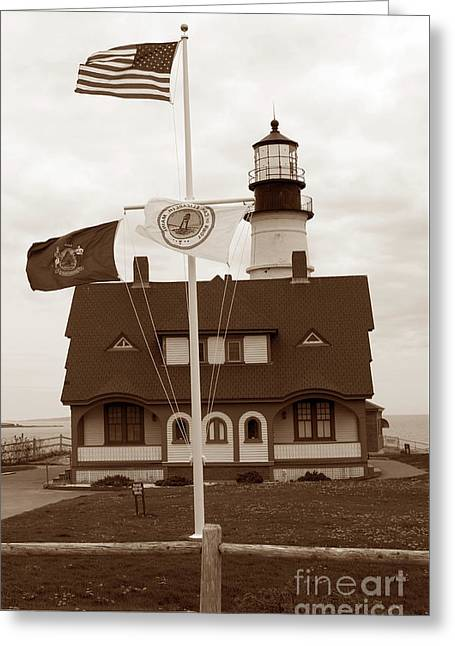 Portland Head Lighthouse Sepia Greeting Card by Skip Willits