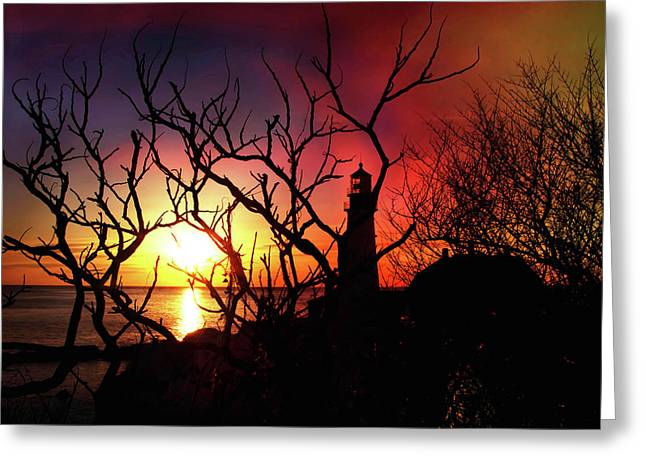 Winter In Maine Greeting Cards - Portland Head Lighthouse Silhouette Greeting Card by Joann Vitali