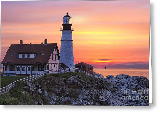Maine Shore Greeting Cards - Portland Head Lighthouse Sunrise Greeting Card by Jerry Fornarotto