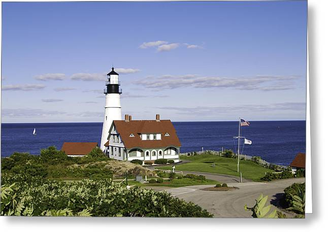 Maine Shore Greeting Cards - Portland Head Lighthouse Two Greeting Card by Phyllis Taylor