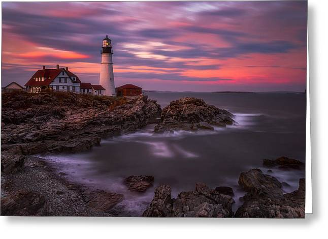 Portland Head Sunset Greeting Card by Darren White