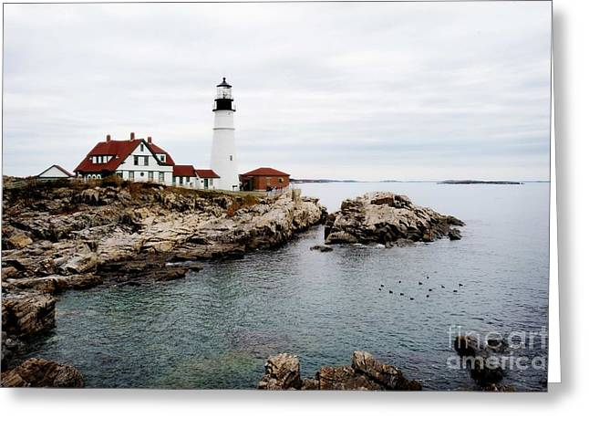 Coastal Maine Greeting Cards - Portland Light Greeting Card by Jim  Calarese