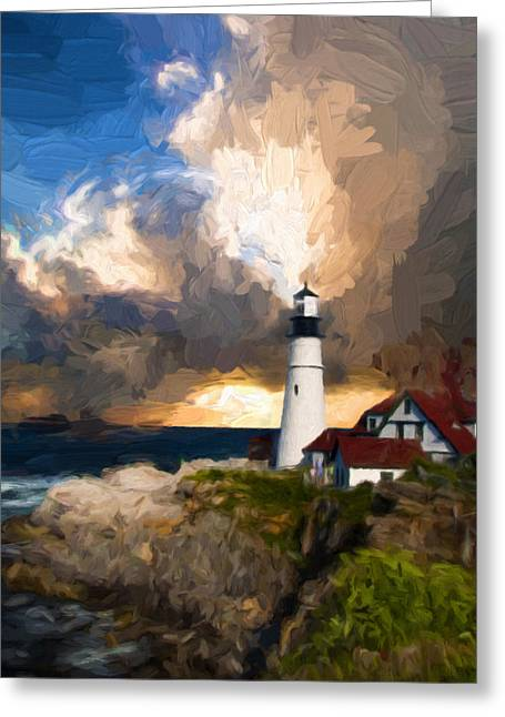 Portland Lighthouse In A Storm Greeting Card by Georgiana Romanovna