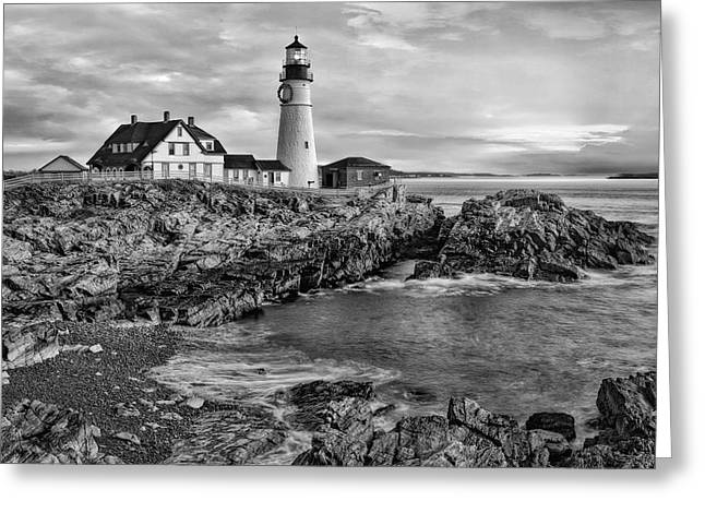 Portland Greeting Cards - Portland Lighthouse Sunrise BW Greeting Card by Susan Candelario