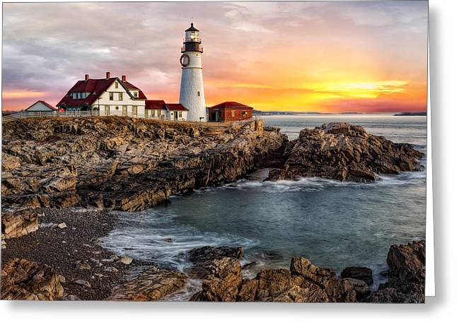 Maine Lighthouses Greeting Cards - Portland Lighthouse Sunrise Greeting Card by Susan Candelario